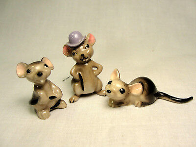 3 Hagen Renaker Mice Mouse Bower Hat Vintage Miniature Figurines City Mouse