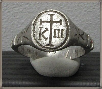 Ancient Silver Byzantine Ring** CROSS **AMAZING**K III**