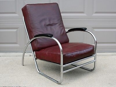 Vintage Art Deco Chrome Chair with Black Wood Arm Rests and Burgundy Seats