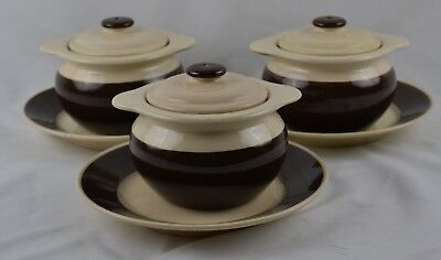 Set 3 HB Quimper Vintage Covered French Onion Dark Brown Bowls Underplates Rare