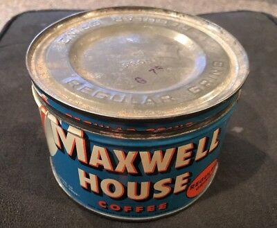 Antique vintage one pound Maxwell House coffee tin can