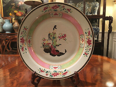 An Excellent Large Chinese Antique Famille Rose Porcelain Charger #1.