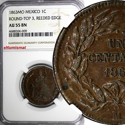 Mexico Copper 1863 MO 1 Centavo Mexico NGC AU55 BN SCARCE TOP GRADED COIN KM#390