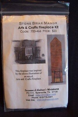 """Suzanne & Andrew's Miniatures 1/48th~Quarter-Inch """"Stone Briar Manor"""" Fireplace"""