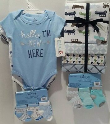 Baby Boys body suit Blankets Socks 19 Lots Blue Baby Shower Gift NWT