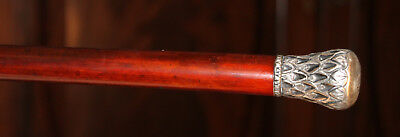Antique Geometric Design Sterling Silver Handle:rosewood Walking Stick/cane