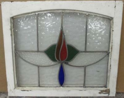 "MID SIZED OLD ENGLISH LEADED STAINED GLASS WINDOW Archtop Floral 24.5"" x 21"""