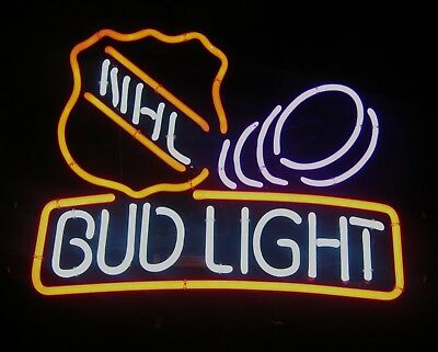 Vintage Nhl Bud Light Lighted Neon Sign Excellent!