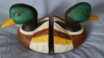 Vintage Hand Painted Ceramic Mallard Duck Bookends