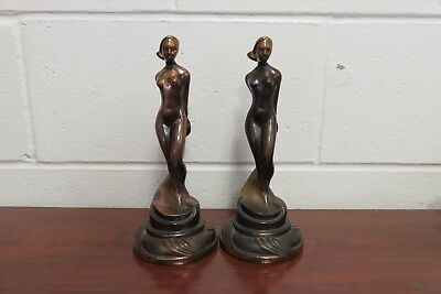 Antique Art Deco Modernist Copper BRONZE Cast Nude Lady Statue Figure Bookends
