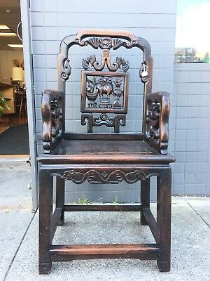 Antique Chinese Hard  Wood Carved Qing Throne Arm  Chair