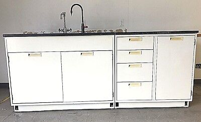 7' Base Laboratory Cabinets & Industrial Grade Top with Sink and Faucets
