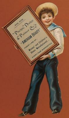 """Phelps Dodge Palmer American Beauty Shoes Diecut 7 1/2"""" Victorian Trade Card-S2"""