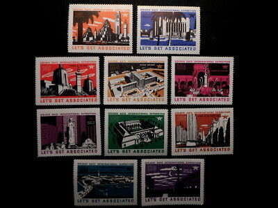 Set of 10 Associated Oil GGIE Stamps / Labels: 1939 Golden Gate Exposition