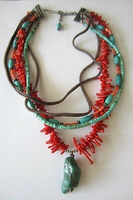 Vintage Old Pawn Sterling Silver & Brown  Leather Turquoise Coral  Necklace