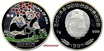 "Korea Silver PROOF ""Panda"" Silver Coin 100 Won, 1997 .FAUNA OF ASIA"