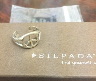 Brand NEW SILPADA Peace Sign Sterling Silver 925 Toe Ring 01730