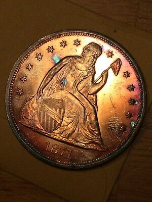 1871  seated Liberty Dollar album toned  high grade