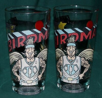 Set of 2 Vtg Collectible Arbys The Birdman 11 Chris Anderson Heavy Pint Glasses