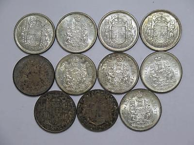 Canada 50 Cents Silver Type Mixed Date Old World Coin Collection Lot #ccc