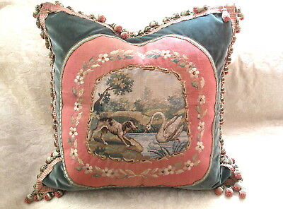 EXQUISITE AUTHENTIC 19TH C ANTIQUE FRENCH AUBUSSON TAPESTRY PILLOW w DOG & SWAN