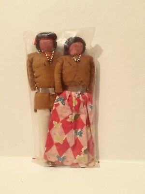 Pair of Vintage Handmade Native American Navajo Indian Cloth Dolls Extremely Old
