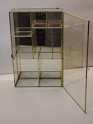 Vintage Tiered Brass and Glass Miniatures Display Cabinet Multi Compartment