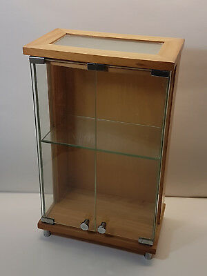 Contemporary Elegant Wood and Glass Two Tiered Miniatures Curio Display Cabinet