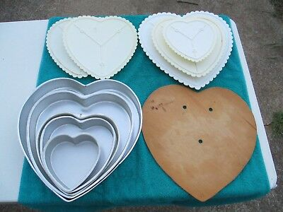 Heart Pans, Plates, and Wood Board Set (11 pieces) Wilton