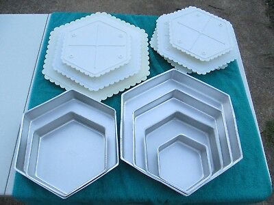 Hexagon Pans and Cake Plates Sets (12 pieces) Wilton