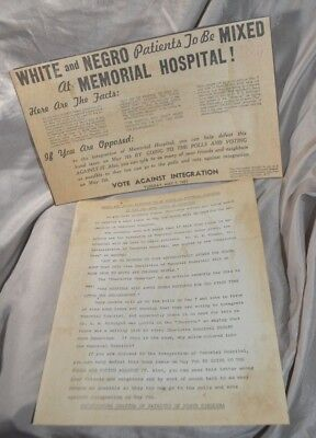 Patriots Of NC Segregation Flyer White And Negro Patients To Be Mixed