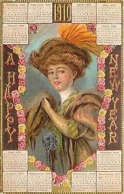 F Earl Christy~New Year Lady In Mink~Roses~1910 Calendar Month Pages~Gold~Emboss
