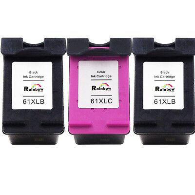 3 Pack 61XL Black Tri-color Ink Cartridge for HP OFFICEJET 2620 4630 4632 4635