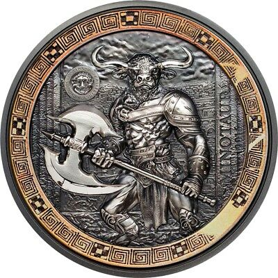 MINOTAUR ANCIENT MYTHICAL CREATURES 2oz High Relief Silver Coin antiqued 2017