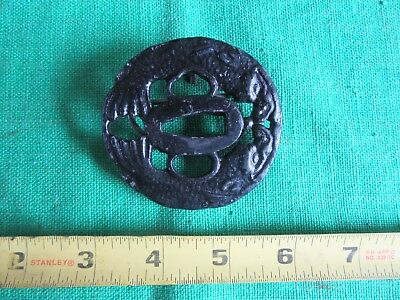 Vintage Japanese Tsuba Turned Into Belt Buckle Only 1 On Ebay!!  Lot 18-24