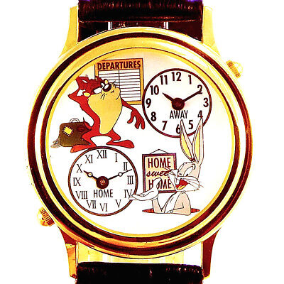 Taz And Bugs Bunny Fossil Dual Time Leather Band Watch Super Hard To Find $199