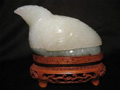 Beautiful Rare Antique Chinese Green Jade Carving Figure Of A Bird Quail Box !