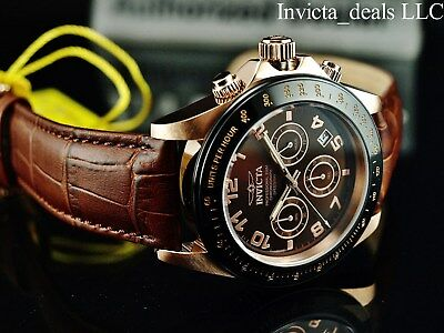 RARE Invicta Mens Speedway Chronograph Brown Sunray Dial Rose Tone Leather Watch