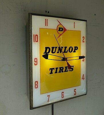 : 1960's Dunlop Tires Automotive Wall Clock:Canadian Neon-Ray Clock Co. Montreal