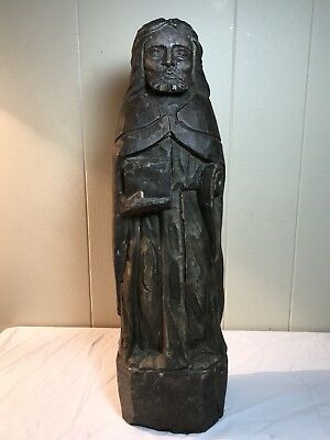 Antique Solid Single Block Hand Carved South American Peru Statue of Jesus LRG
