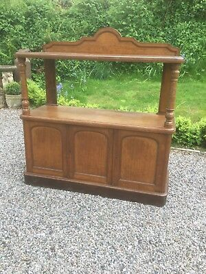 Antique Oak Serving Buffet  / Sideboard With Cupboards Under Sn-134