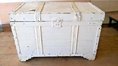 Old wooden chest, trunk, bedding box with leather straps, refurb project