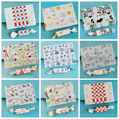 50pcs Handmade Food Sweets Candy Wrapping Papers Wedding Birthday Party Favors
