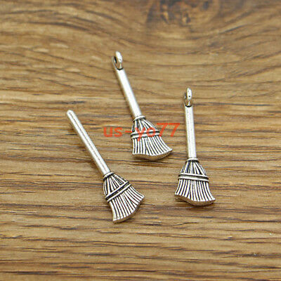 30pcs Broom Charms Witch Charm Halloween Wizard Antique Silver Tone 9x27mm 3152