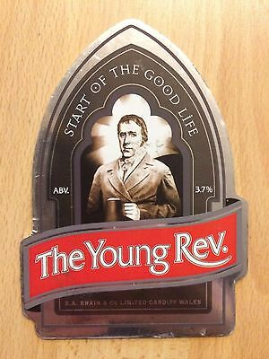 The Young Rev (Reverend James) Beer Pump Clip: Brains Brewery, Wales