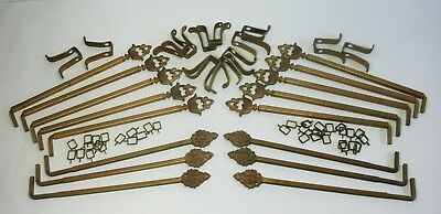 d LOT 16 Vtg EXPANDING SWING ARM CURTAIN RODS Cast Iron Metal +Brackets Rings