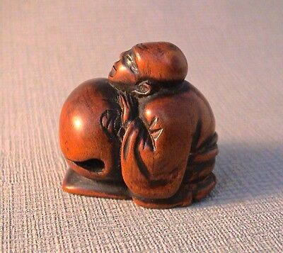 19th Century Japanese Netsuke Monk asleep at Mokugyo