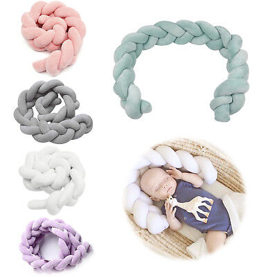 1/2/3M Baby Infant Plush Crib Bumper Bedding Bed Cot Braid Pillow Pad Protector