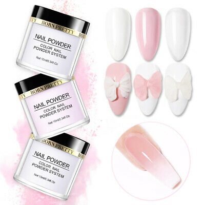 White Clear Pink Color Acrylic Powder for Nail Art False Tips BORN PRETTY 10ML