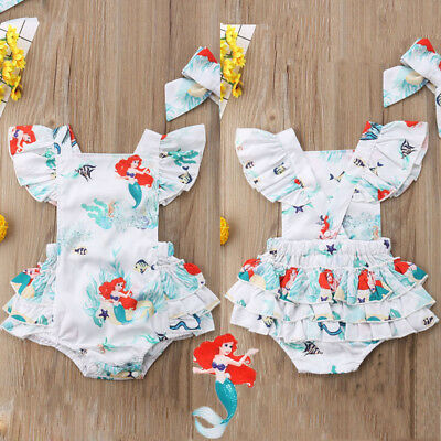 Canis Newborn Infant Baby Girls Mermaid Romper Bodysuit Headband Outfits Clothes